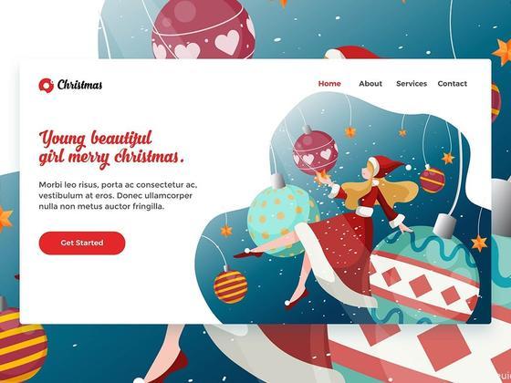 圣诞节着陆页UI源文件下载,圣诞节网页着陆页界面设计源文件