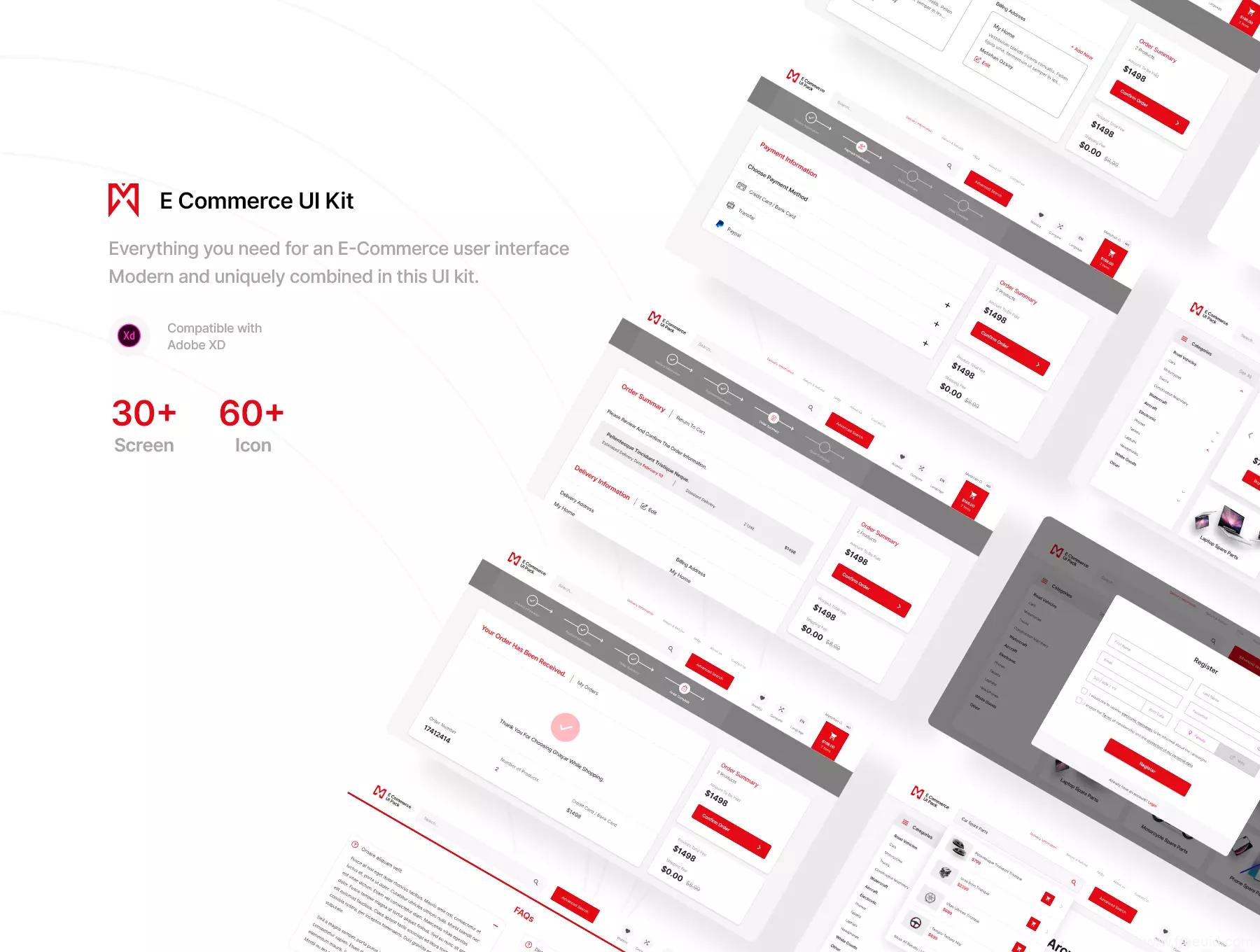 一套电商平台web UI源文件下载,电商平台网页UI xd源文件
