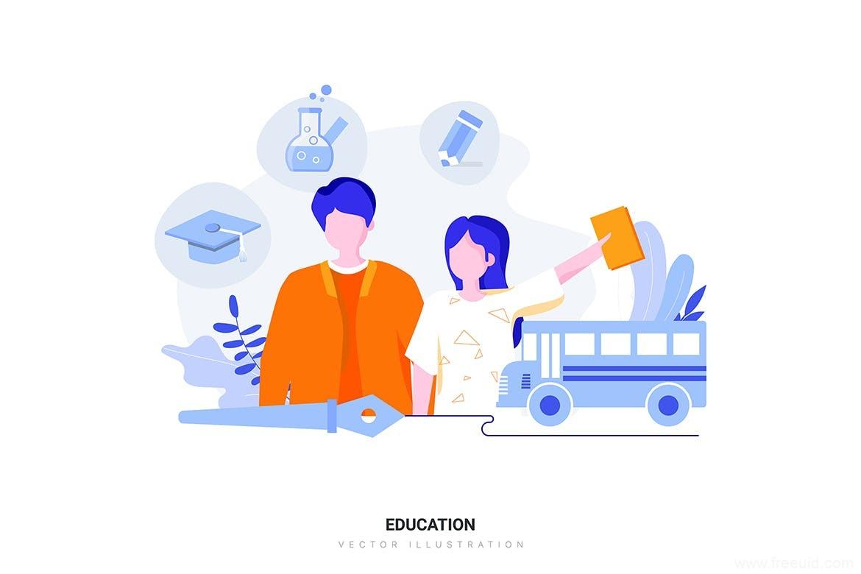 一套多场景精美UI插画素材源文件,教育场景插画、医疗场景插画、金融场景插画ai源文件下载