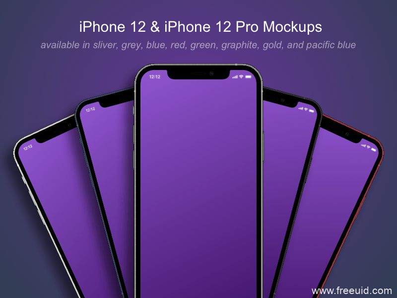iPhone 12 and iPhone 12 Pro Mockups样机模板sketch源文件下载