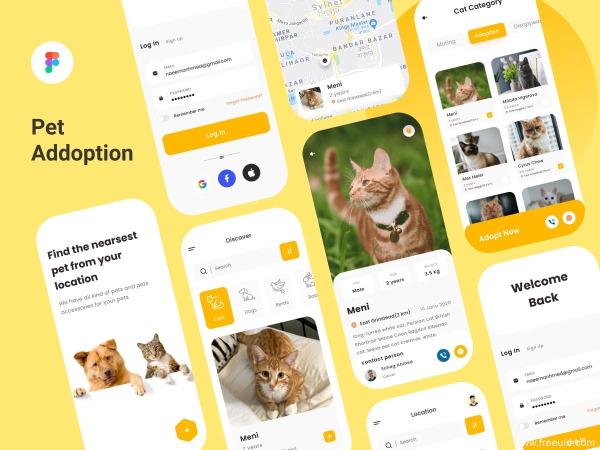 宠物社区UI源文件下载,宠物App UI资源下载,宠物社交UI素材figma模板