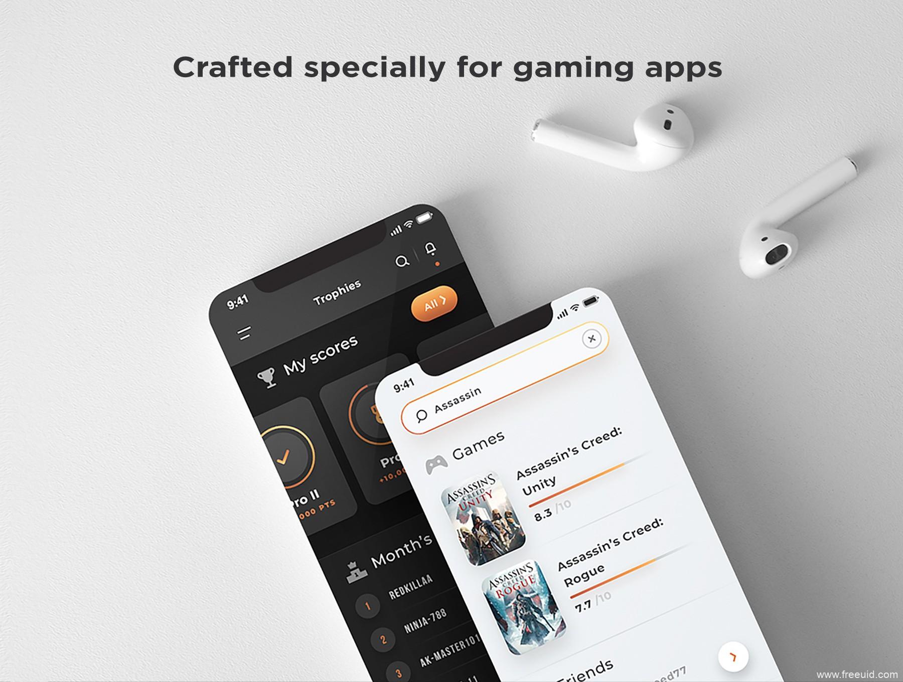 精品推荐:黑白双色游戏社交App UI源文件,游戏资讯UI资源下载,游戏社区UI素材xd源文件、psd源文件