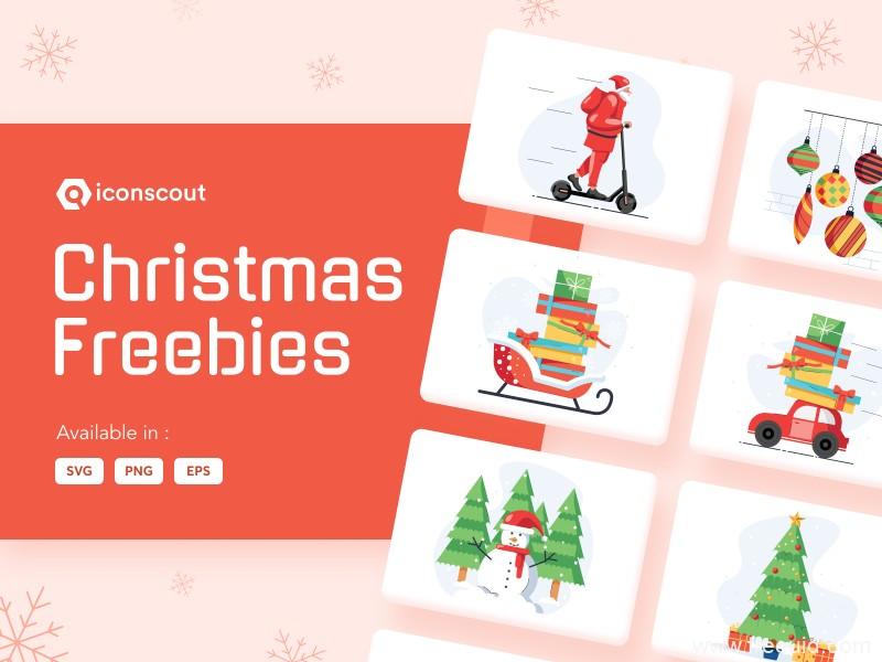 一组清新流行圣诞节矢量插画ai源文件,圣诞节UI运营插画素材源文件下载