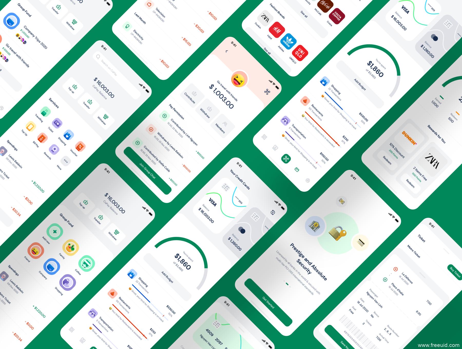 整套68页钱包支付UI设计资源下载,电子钱包UI源文件,金融支付app UI素材sketch源文件、figma源文件