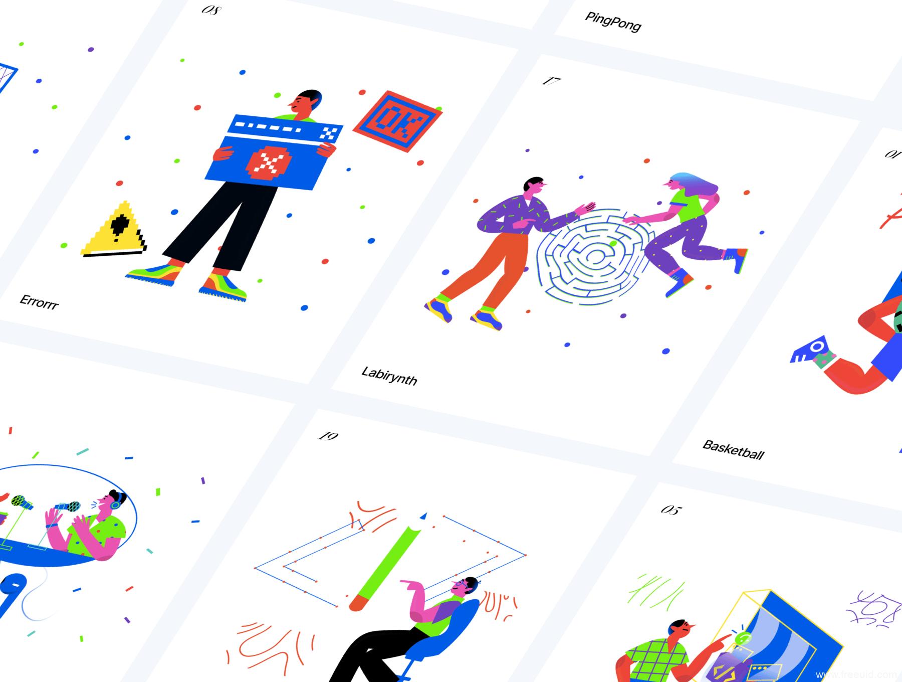 20个流行风格UI插画,现代风运营矢量插画ai、sketch、svg源文件下载