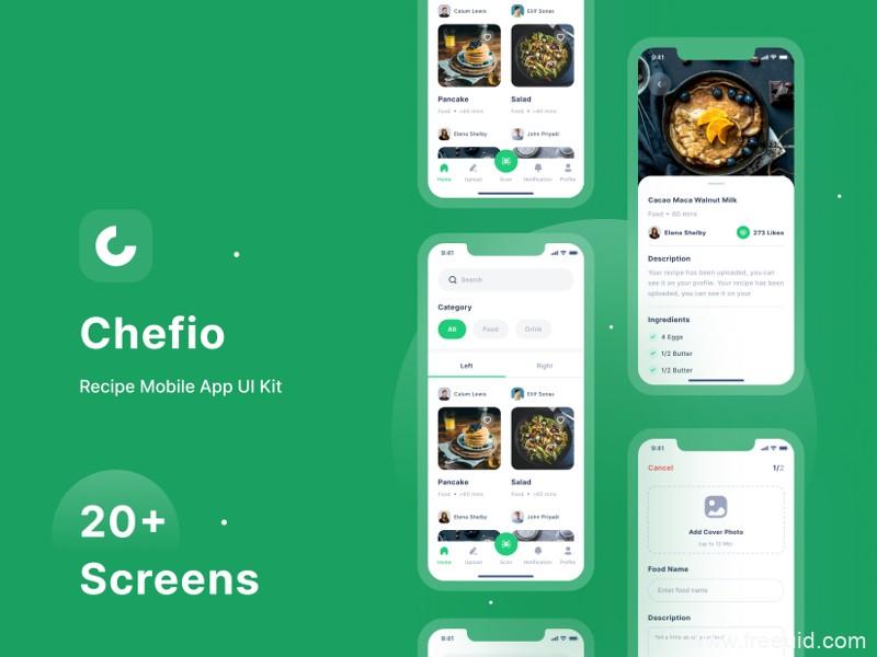 一整套美食菜谱App UI界面套装下载,美食食谱UI资源下载,美食app UI源文件,figma源文件下载