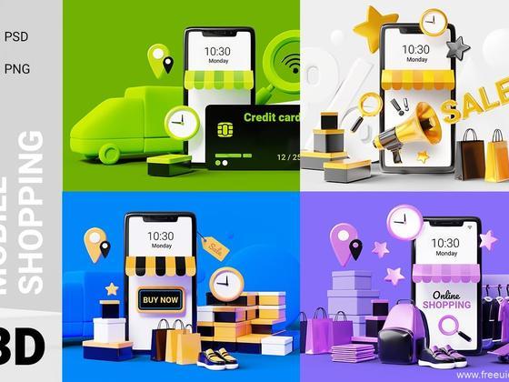 流行3D场景iPhone手机样机mockup源文件,3d场景手机样机psd源文件