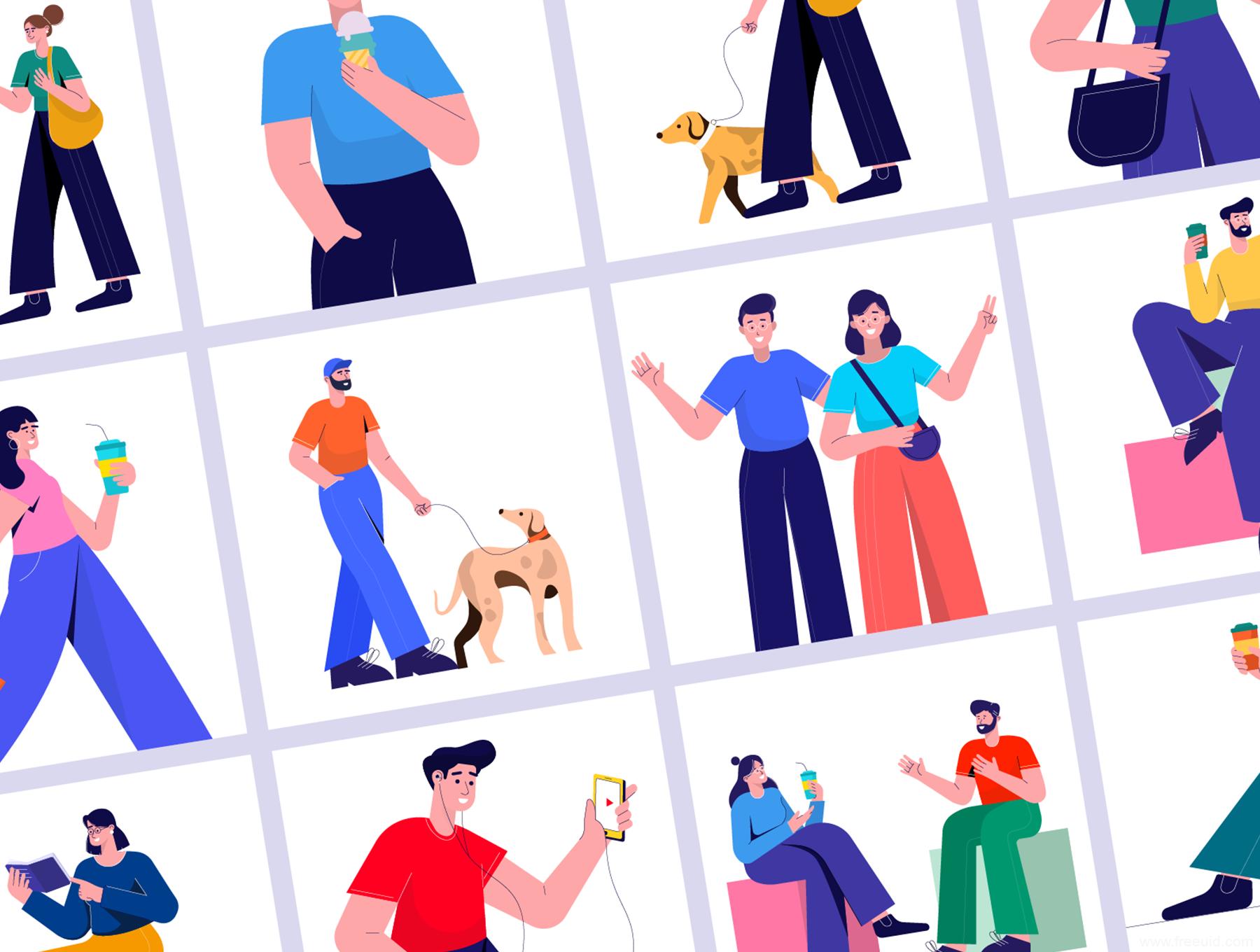 一套多彩时尚流行风运营插画,流行人物插画banner ai源文件下载