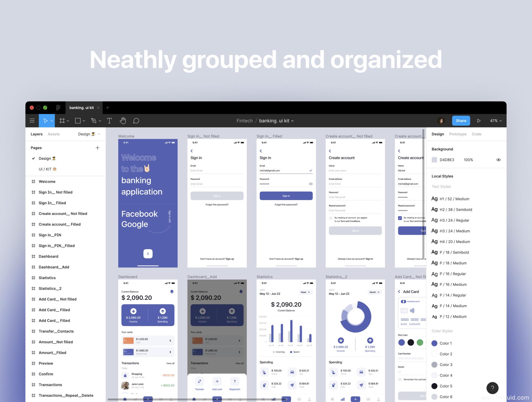 一套商务简洁金融app UI资源下载,金融银行app UI源文件下载,金融产品UI素材figma源文件