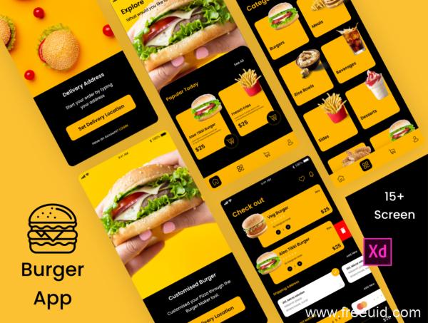 麦当劳、肯德基app UI源文件下载,美食app、外卖app、快餐app UI资源下载xd源文件