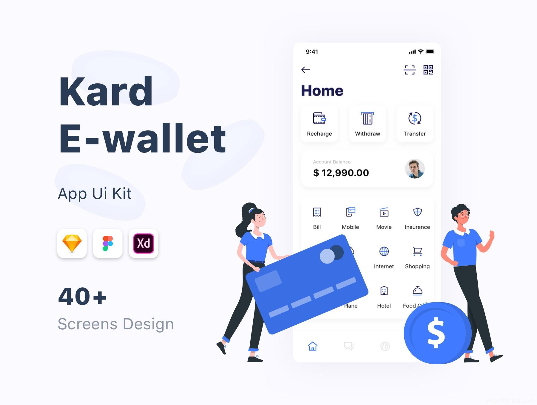 一套简约设计风格的电子钱包UI kit,电子钱包UI资源下载,在线支付UI源文件,xd、sketch、figma源文件