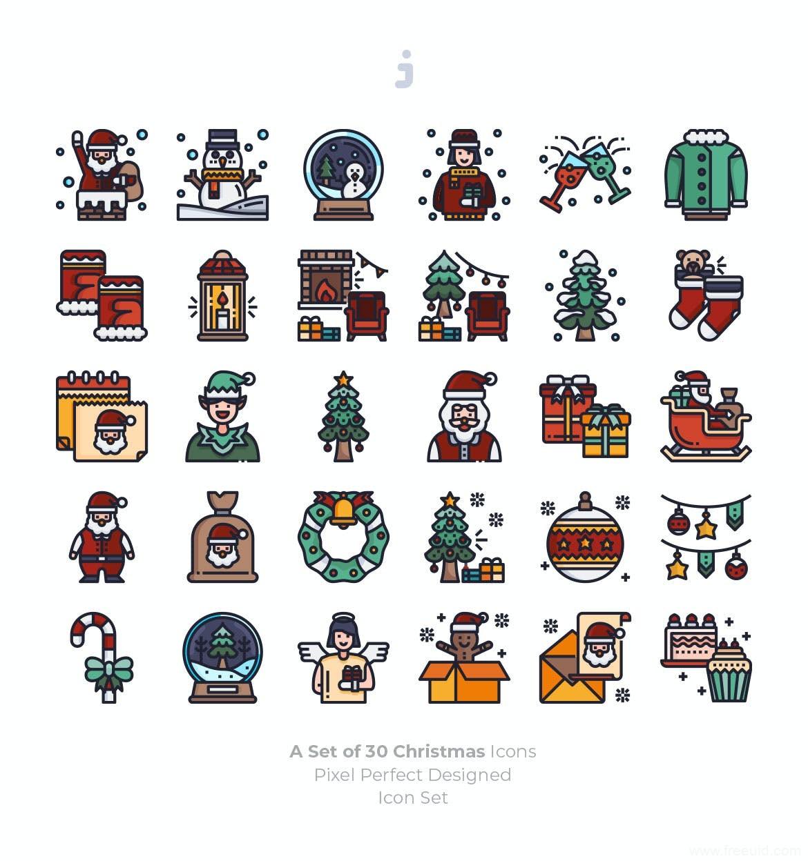 圣诞节适量图标ai源文件下载,圣诞UI图标icon资源下载