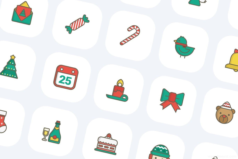 圣诞节图标icon源文件,Christmas圣诞节风格图标AI源文件
