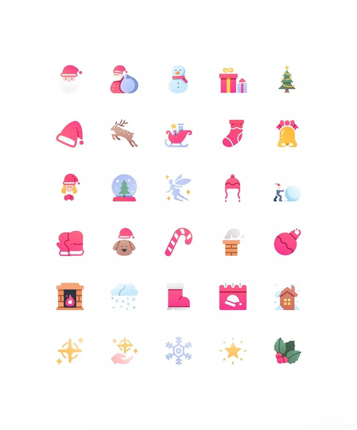 30枚圣诞节风格小图标ai源文件,圣诞icon UI图标ai源文件下载