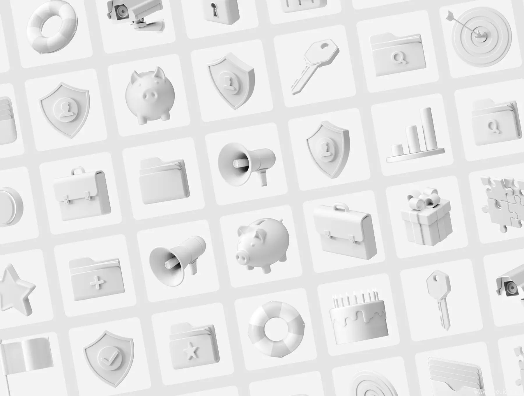 一套精美的3D图标icon源文件,C4D运营图标icon源文件,3D风UI图标源文件,figma、C4D源文件