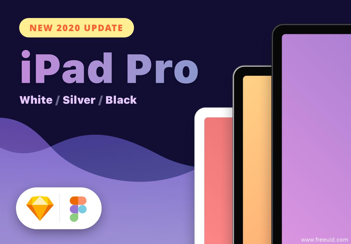 2020最新ipad pro样机模板源文件,ipad pro免费样机mockup模板sketch、figma源文件下载
