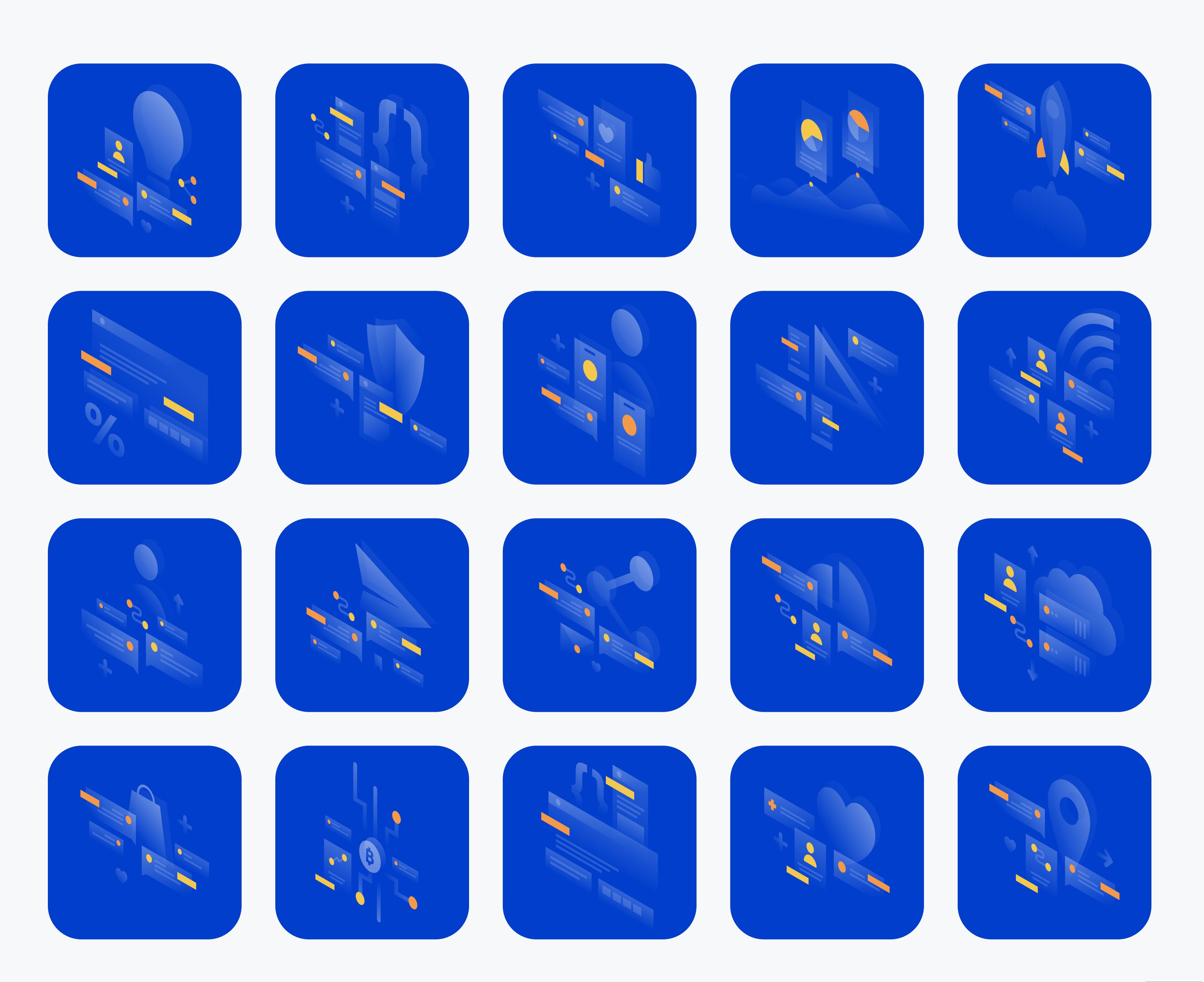 2.5D商务风插画原文家下载,2.5D透视空状态引导页插画ai源文件