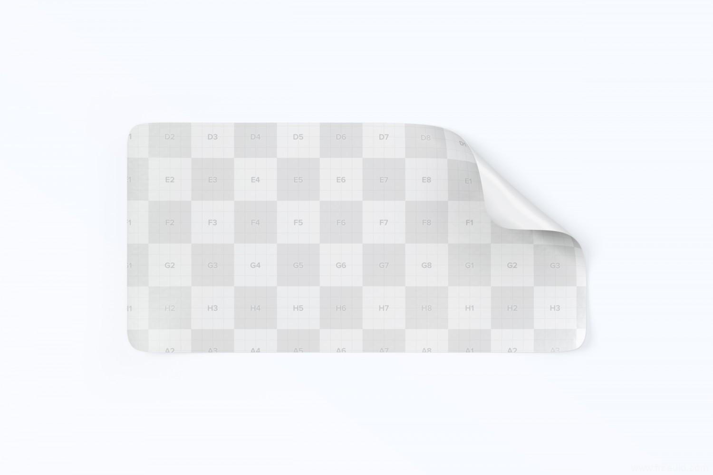 一款荧光贴纸平面样机mockup包装源文件,展示铭牌、广告、品牌、价格标签样机psd源文件