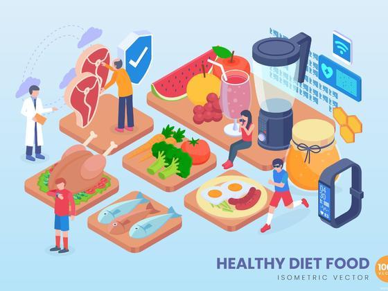 健康饮食场景2.5D插画源文件,健身减肥美食场景2.5D等距轴测图风格矢量插画ai源文件