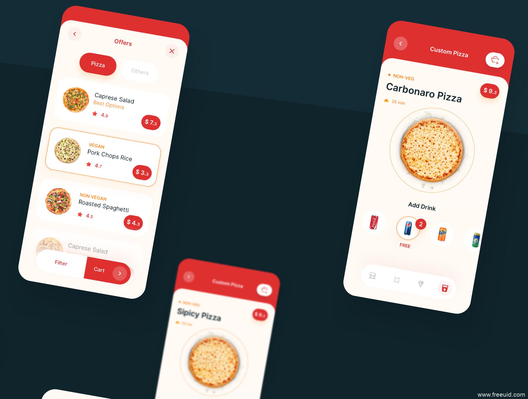 一款快餐外卖app UI kit下载,披萨外卖APP UI源文件下载,美食外卖app UI资源下载,sketch源文件