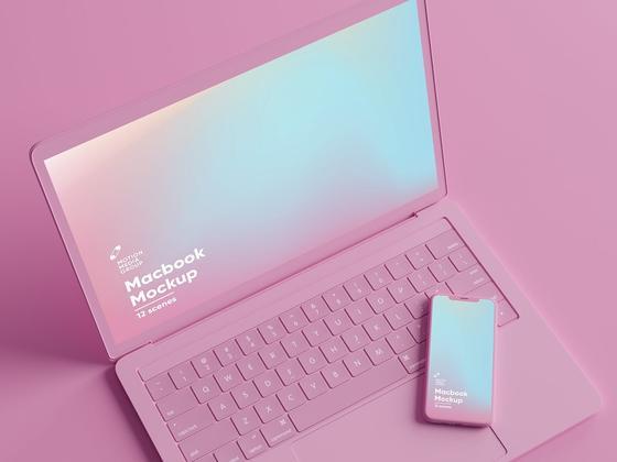 粉色迷幻风多角度iPhone和MacBook苹果设备样机mockup psd源文件下载