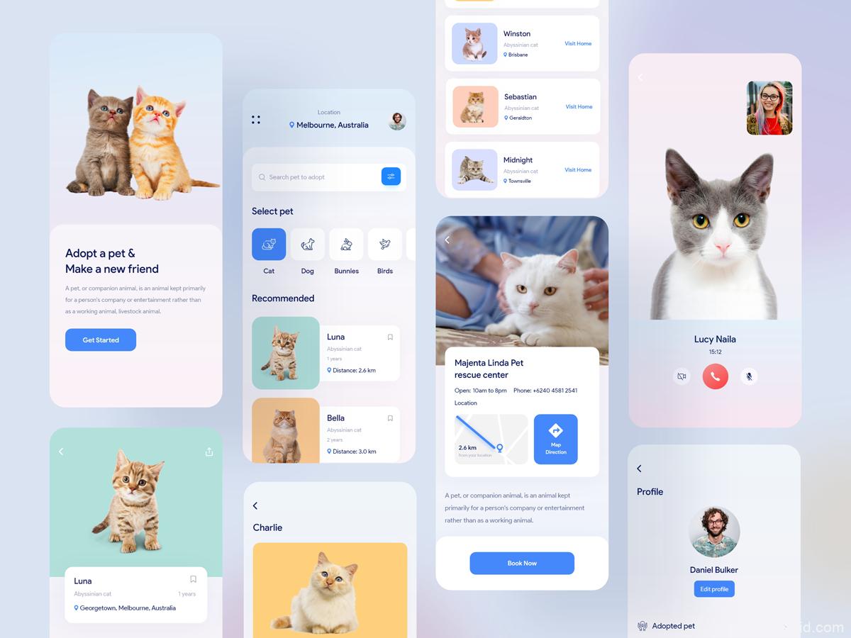 宠物app UI资源下载,宠物社区APP UI源文件,宠物UI素材xd源文件下载