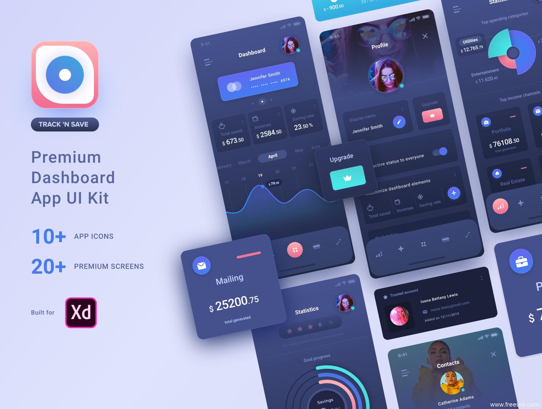 一套暗色风财务app UI源文件下载,财务账单app UI资源xd源文件,金融理财app UI素材下载