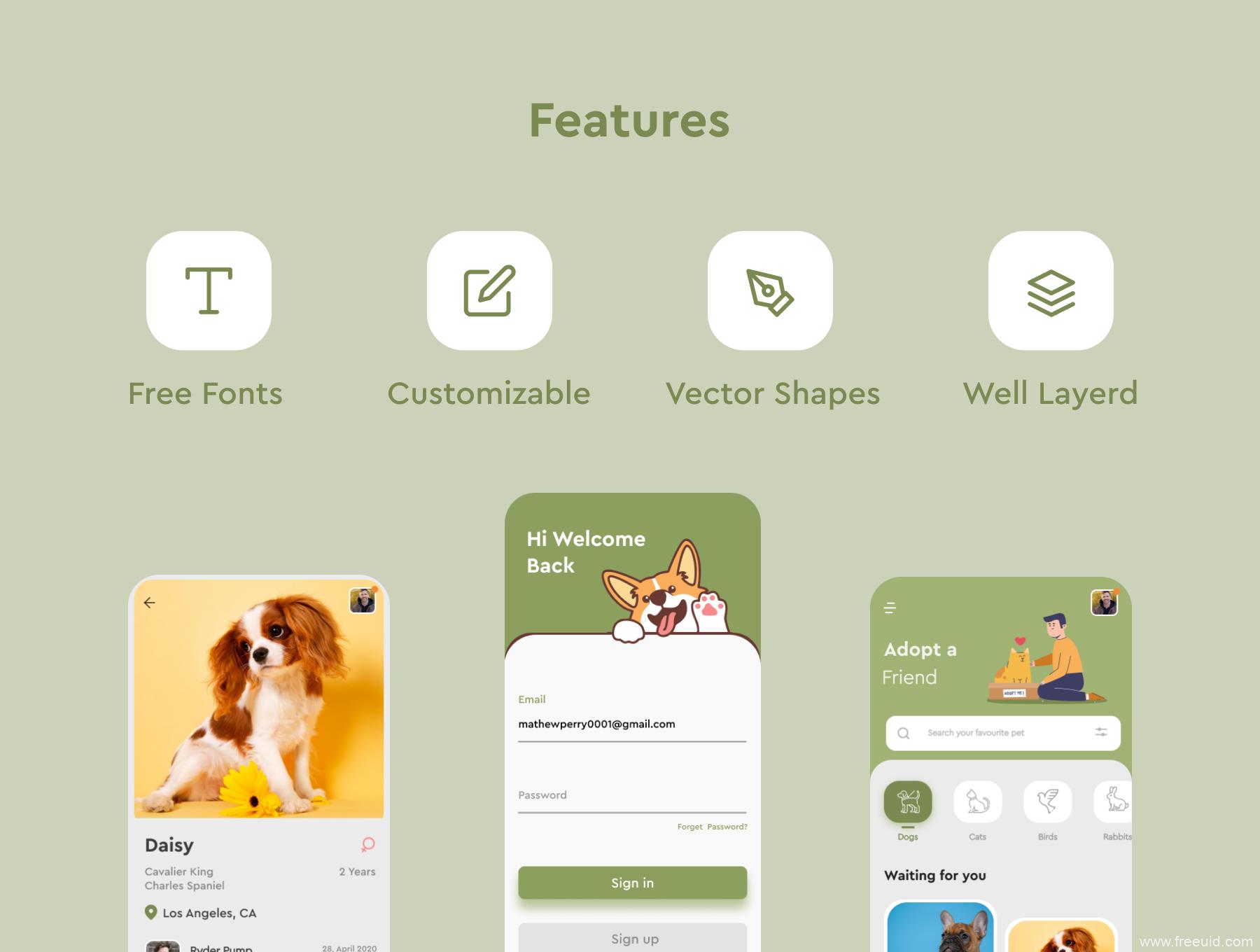 免费宠物轻社交App UI源文件下载,宠物领养社区App UI界面套装figma源文件下载