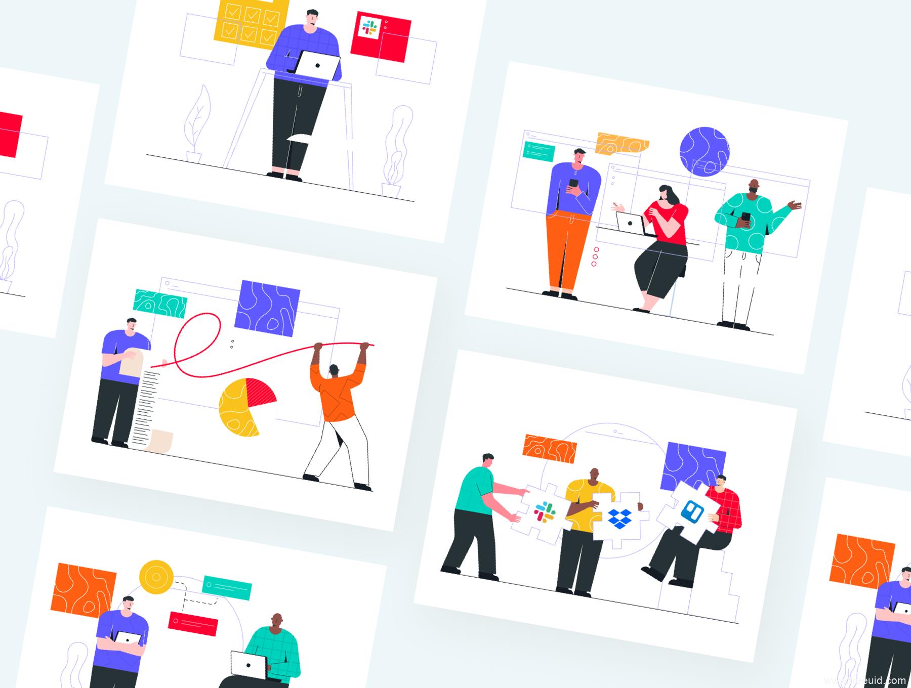 一套B端产品场景插画素材包,SaaS平台应用场景插画素材包svg,png,sketch,ai,eps,fig格式源文件