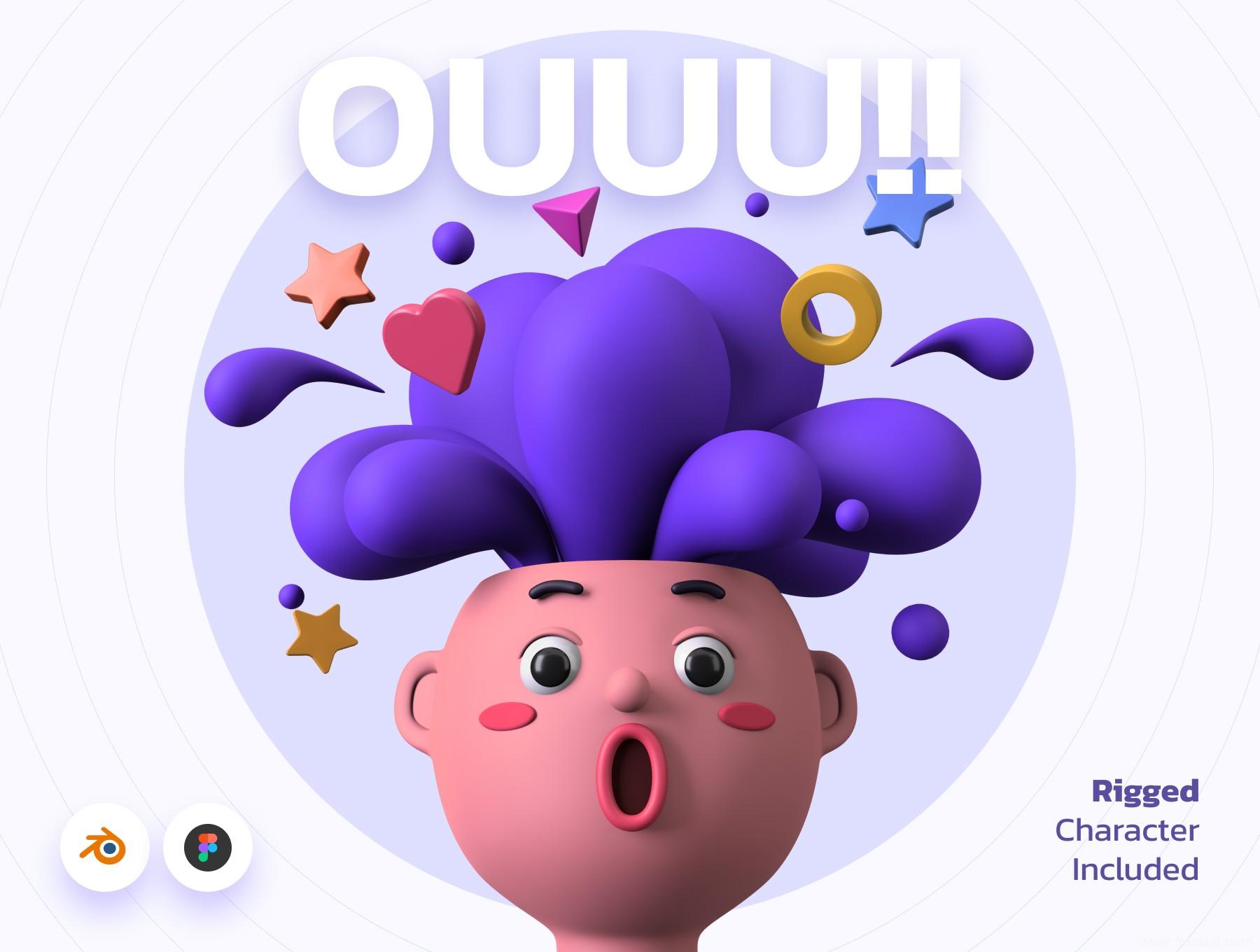 1G多3D人物角色插画素材源文件下载,3D插画组件blender原文下载