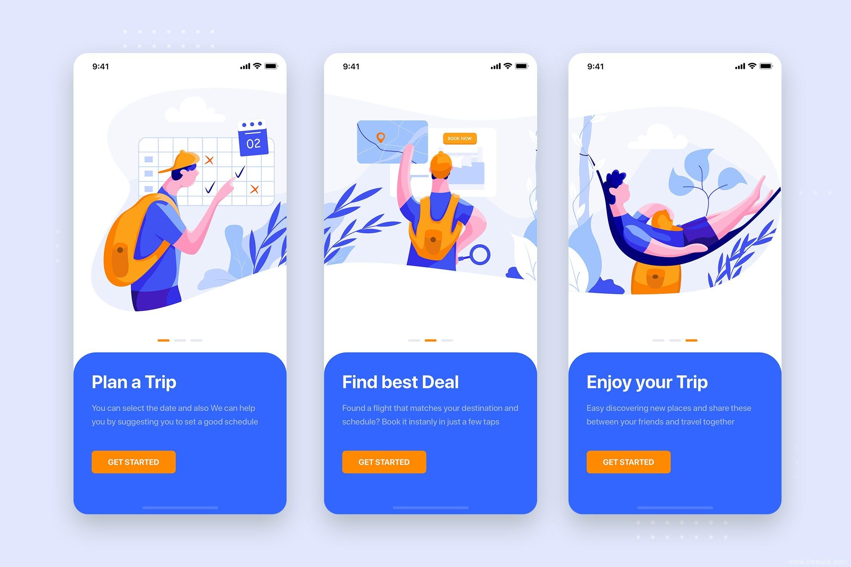 一套插画风旅游app引导页设计sketch源文件下载,旅游相关产品UI引导页源文件