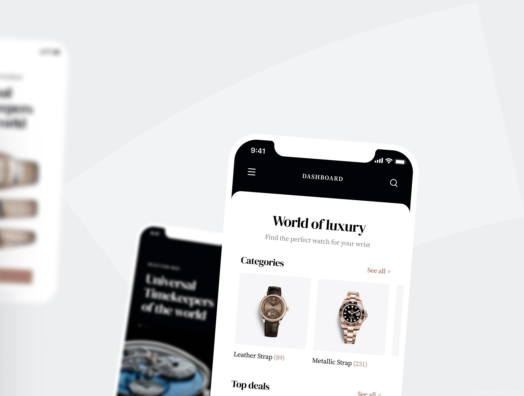 高端手表电商app UI资源下载,高端电商app UI源文件下载,手表电商UI素材 xd,sketch,fig源文件