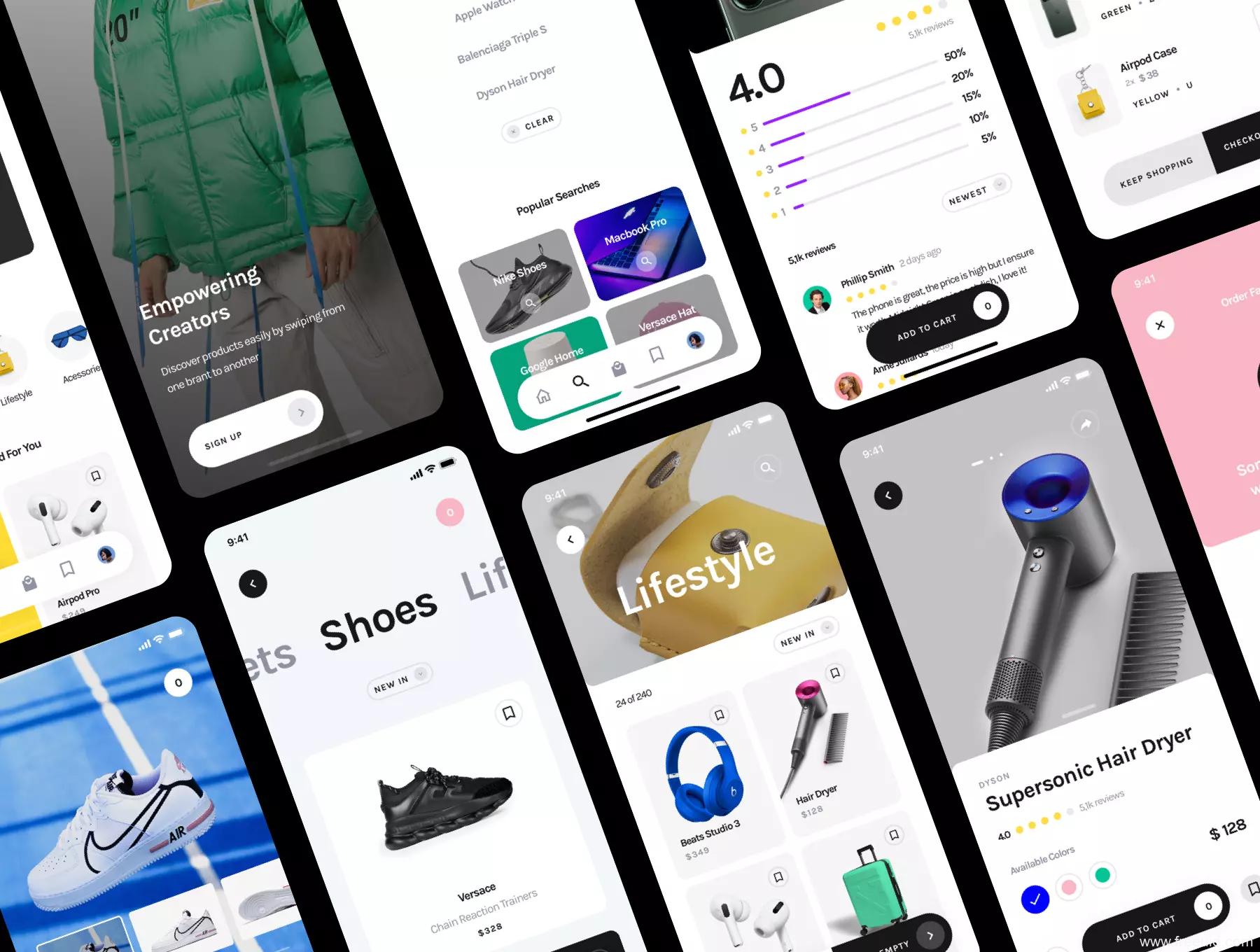 一套简约大气的电商app UI源文件下载,2021年最新轻电商应用UI模板sketch源文件下载