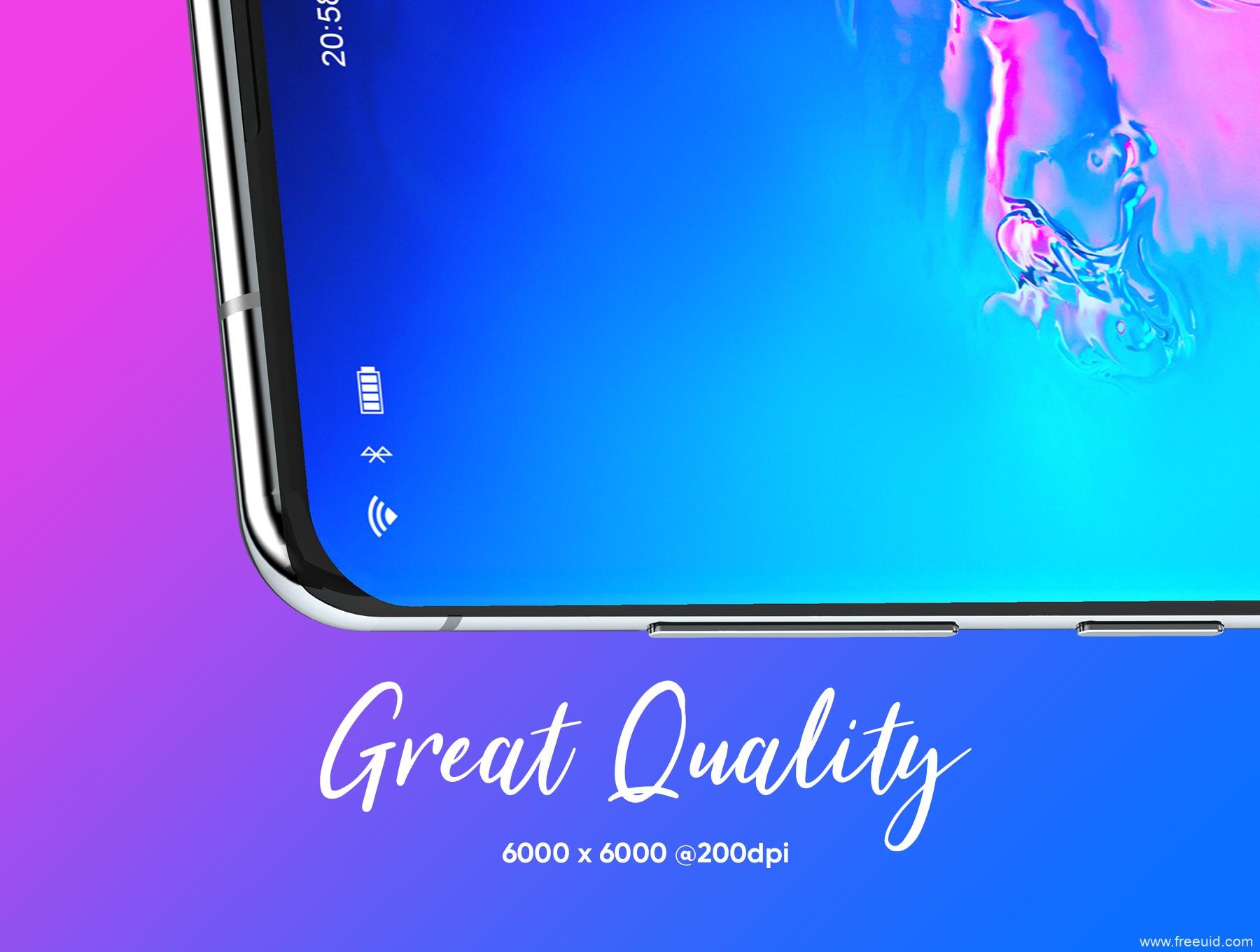 Samsung Galaxy 三星 S10+ 手机样机mockup下载psd源文件