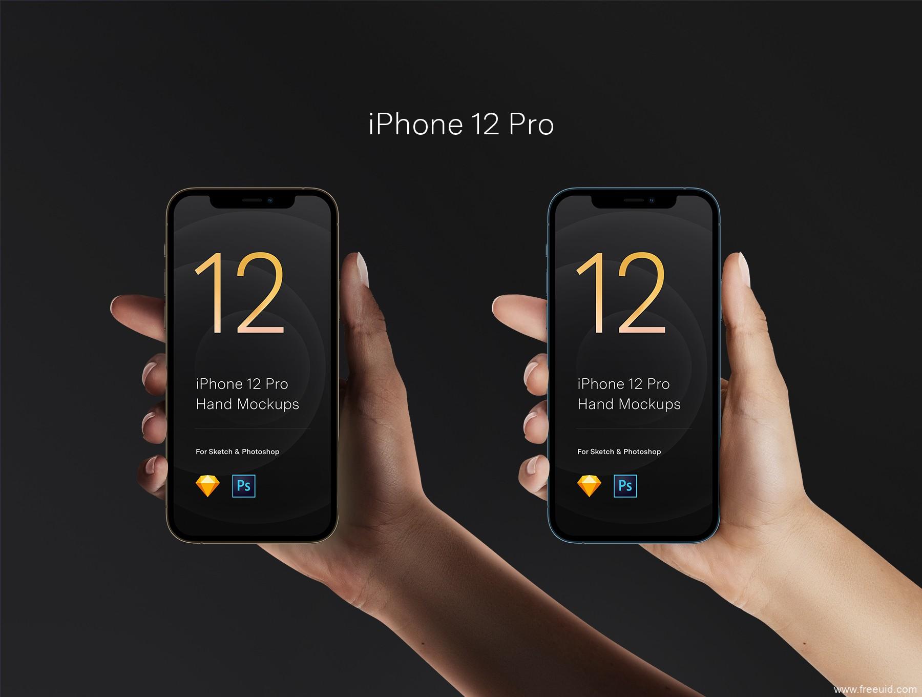 手持iPhone 12 样机mockup,手持iPhone 12 pro 样机mockup模板源文件psd下载
