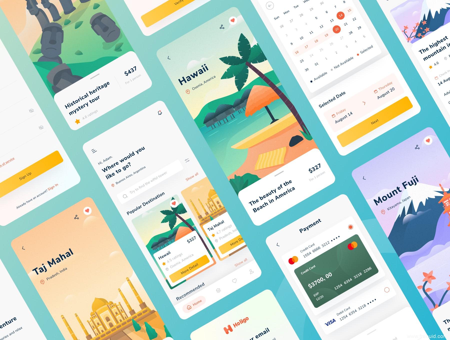 一套东南亚风旅游app UI源文件下载,插画风旅游app UI资源下载, svg,ai,eps,sketch,fig源文件