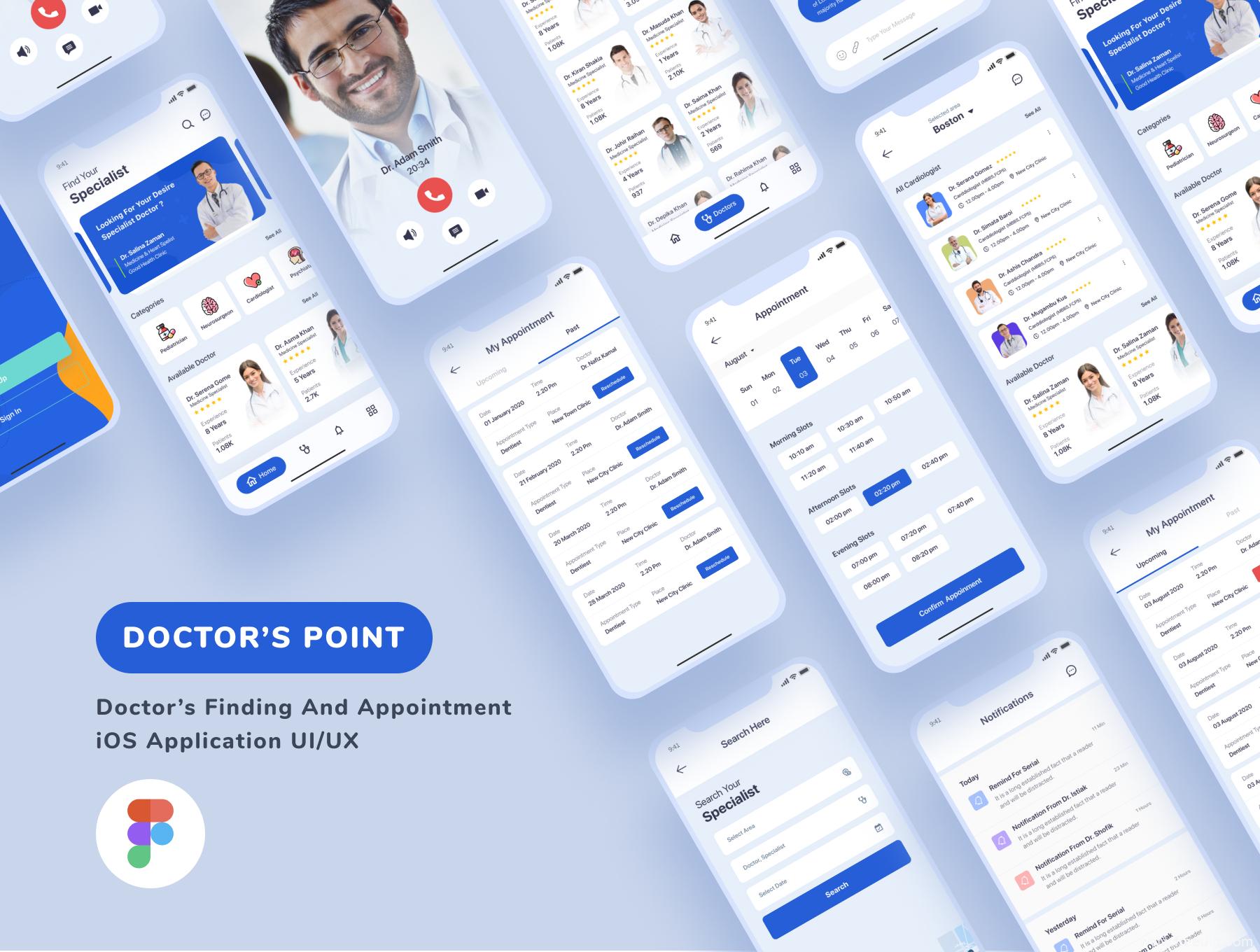 在线医疗app UI源文件套装下载,在线问诊app UI资源下载,医疗app UI素材下载figma源文件下载