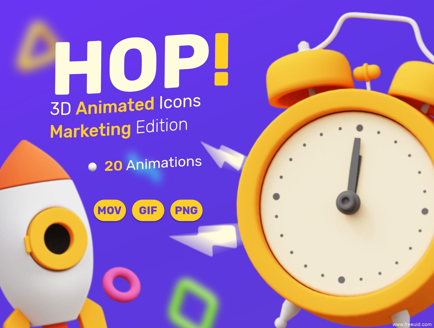 金融类运营3D插画动效素材,商务3D动效插画运营套件下载