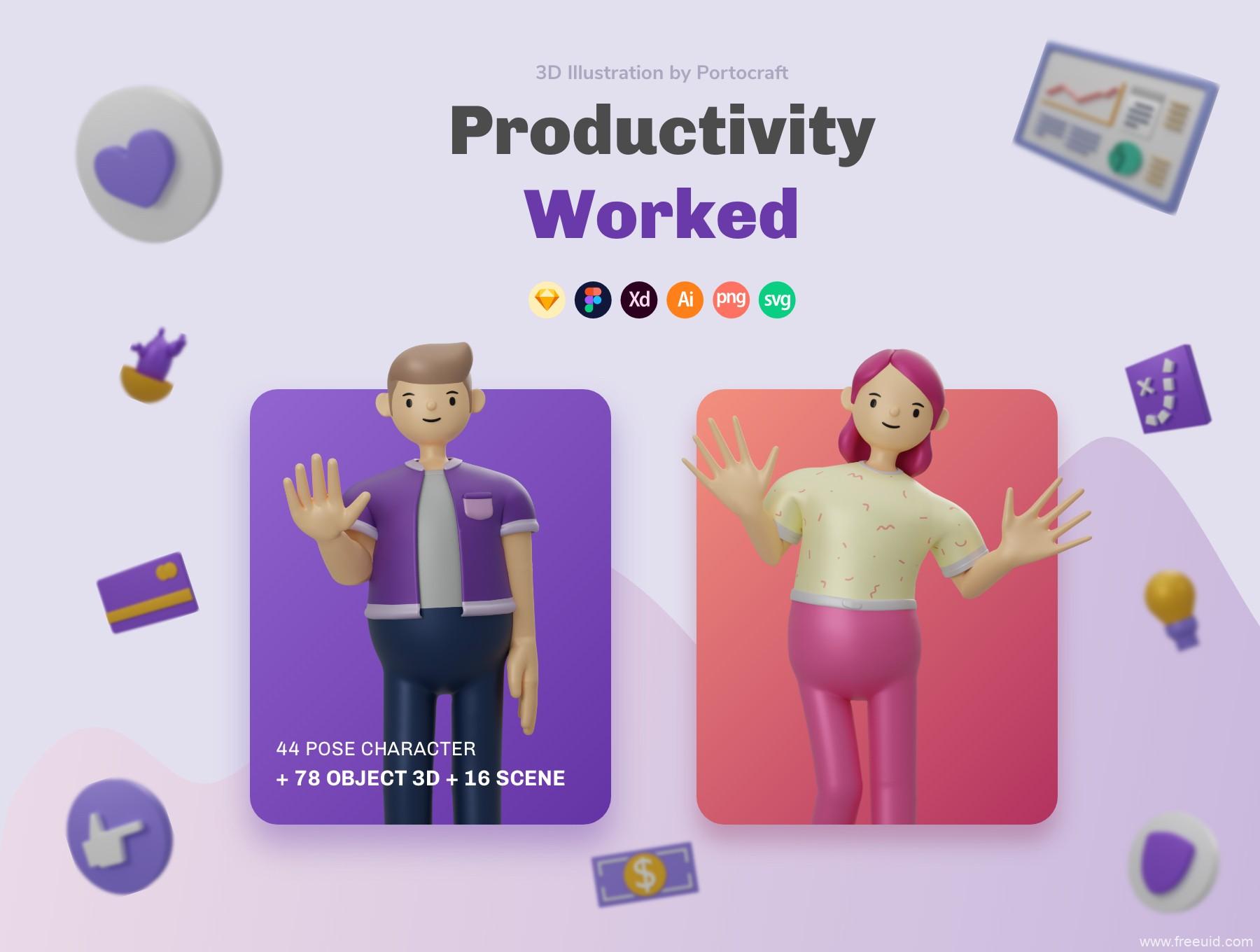 一套3D插画资源工具包,包含42个姿势3d人物3d工作场景插画素材包下载