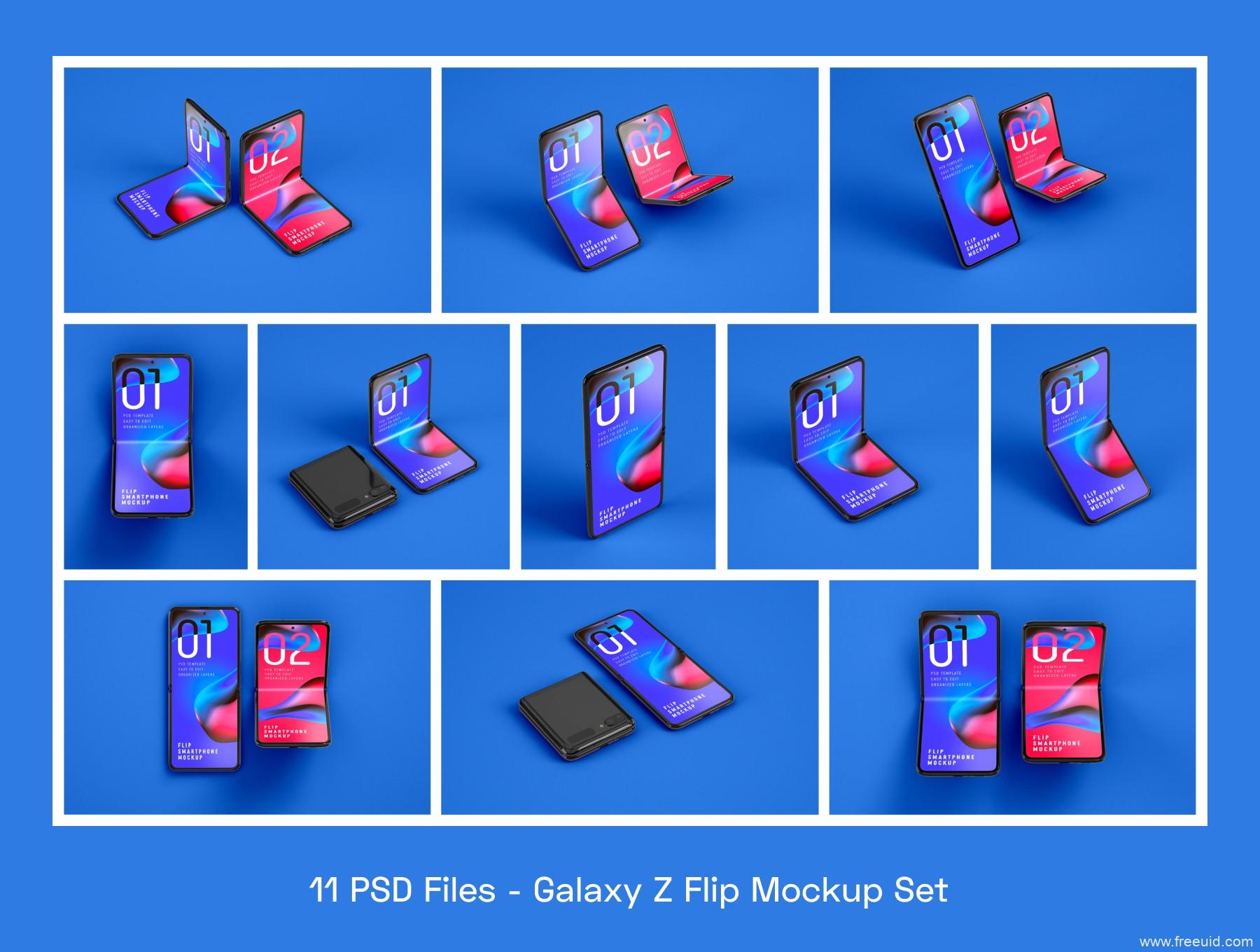 折叠手机屏mockup样机psd源文件下载,三星Galaxy Z Flip 折叠屏手机样机