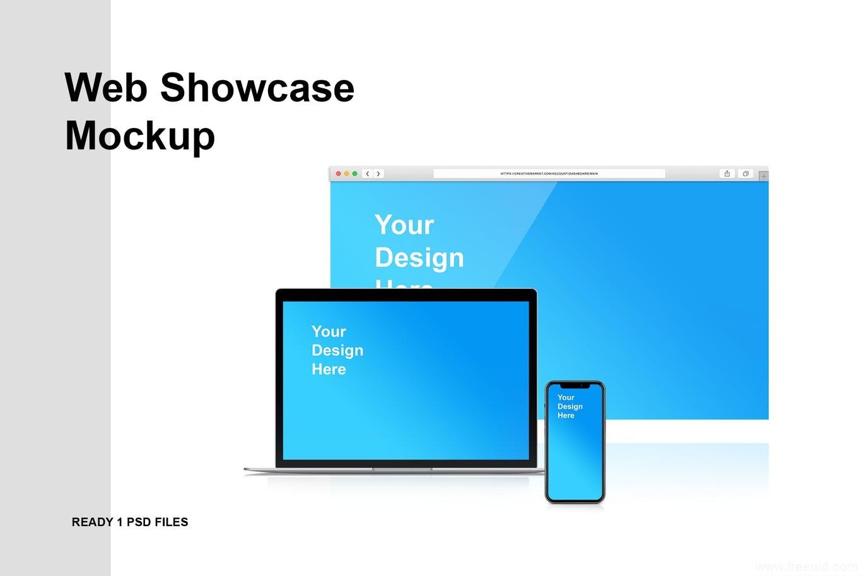 网页浏览器样机模板,Web网页设计展示效果图样机 mockup模板psd源文件下载
