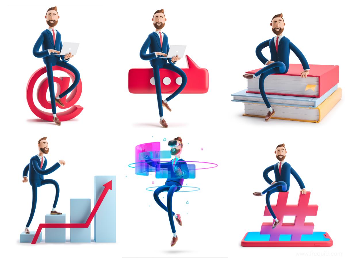3D商务人物插画系统figma源文件,3d运营插画素材库下载