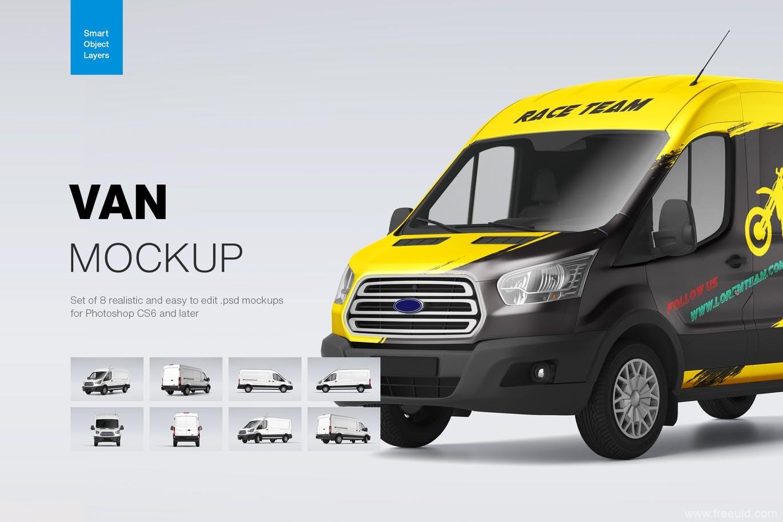 多角度小货车、面包车车身广告展示样机,车身广告平面mockup样机psd源文件