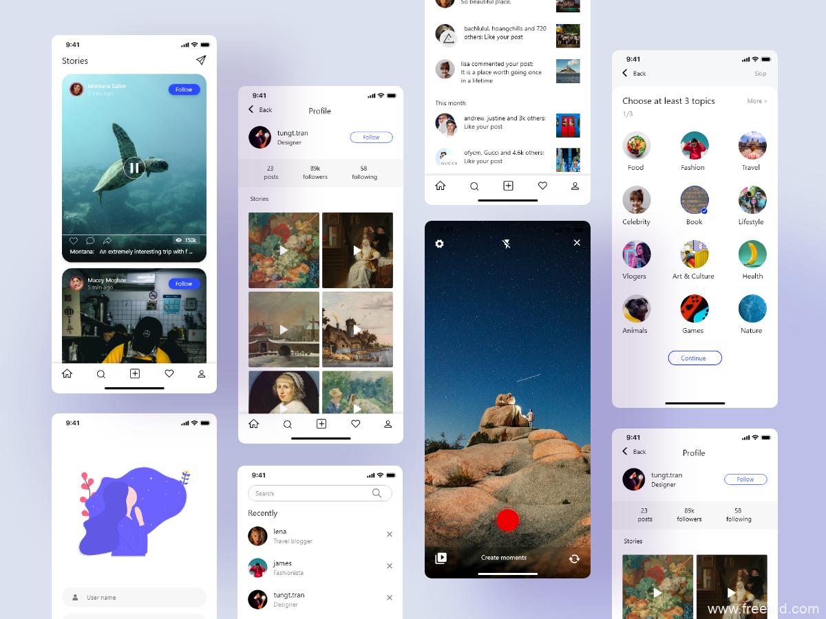 一套图片社交app ui源文件下载,短视频社交app ui资源xd源文件下载