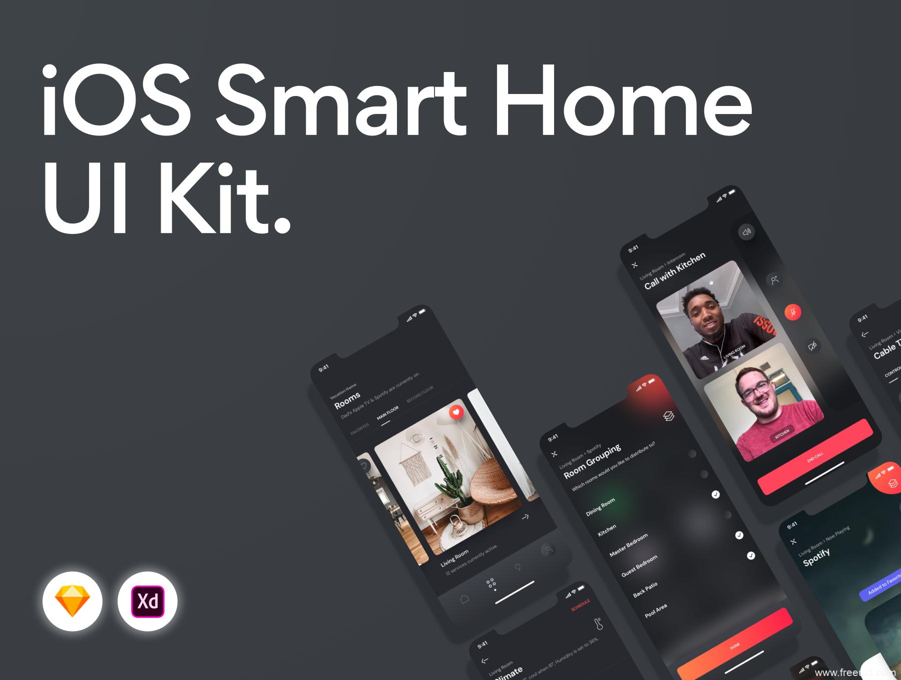 一套智能家具app UI kit套装下载,智能家具智慧家庭app UI源文件下载,暗色系darkmode智能家具app UI资源xd,sketch源文件下载