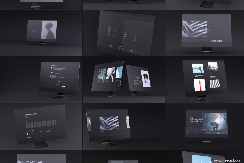 高端网页UI展示样机模板,网页展示mockup样机psd源文件,mac电脑样机模板,电脑mockup样机psd