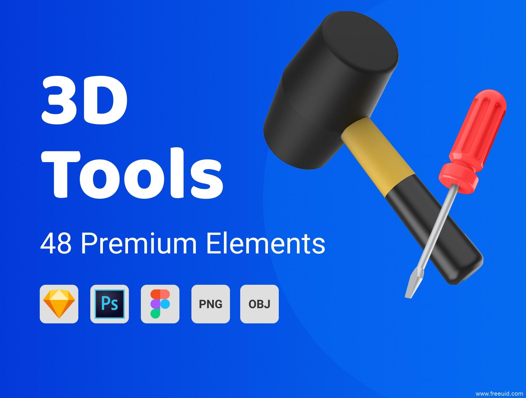 各种五金工具3D图标素材源文件下载,日用工具3D图标插画素材源文件psd,png,sketch,fig