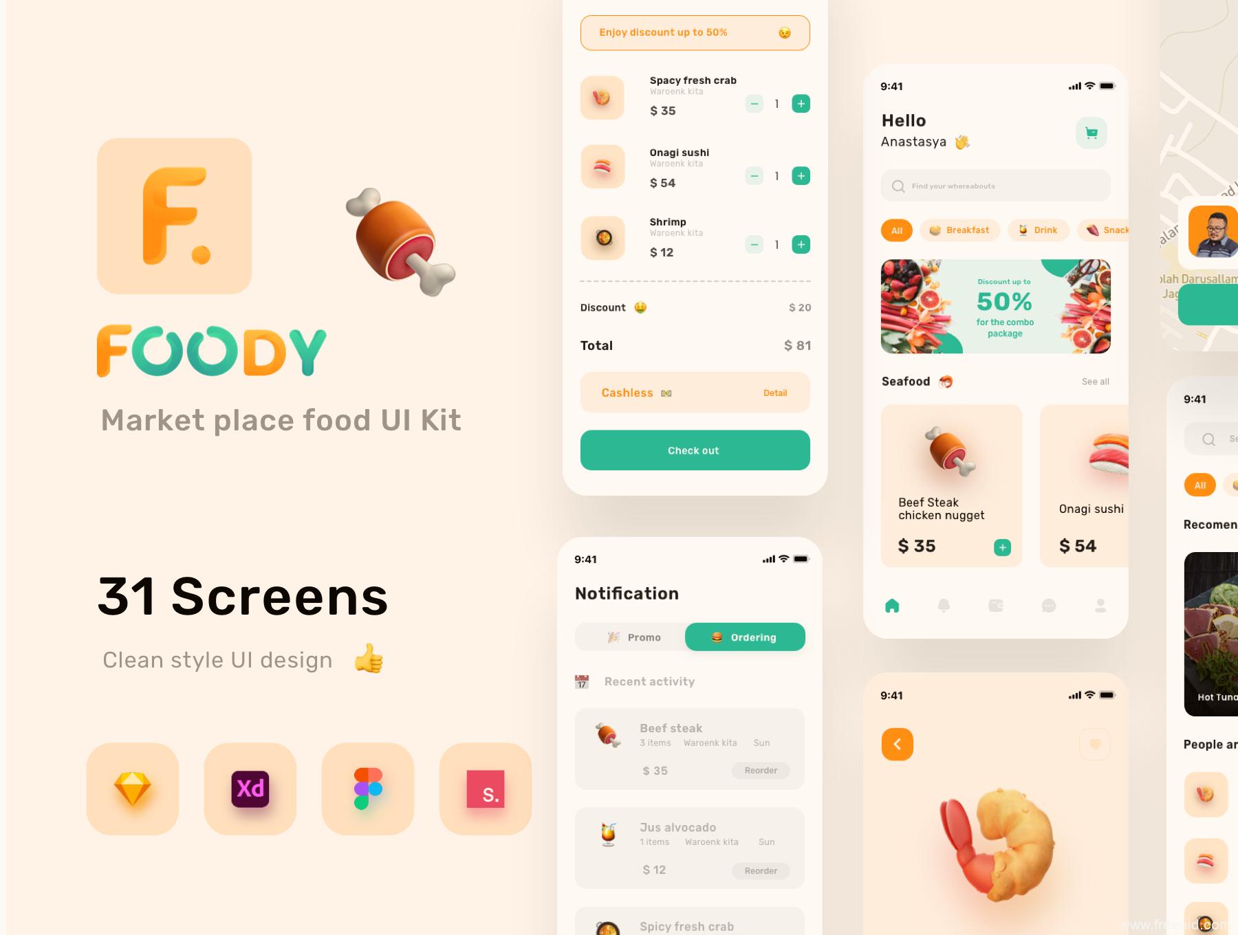 美食外卖app UI kit套装,美食外卖APP UI源文件下载,买菜APP UI资源下载,美食外卖UI素材下载