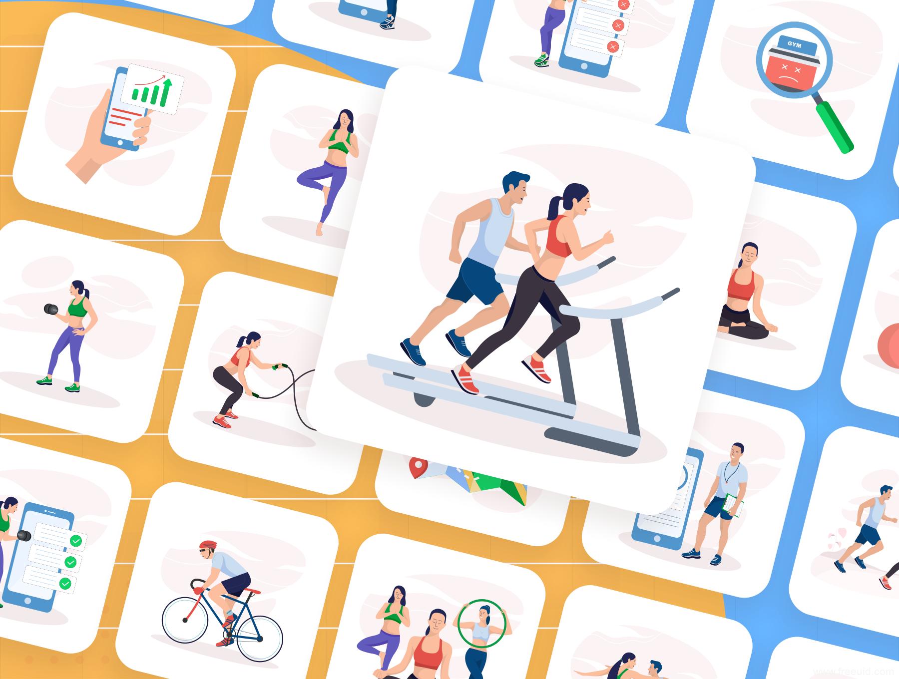 一套运动健身运营插画套装ai、sketch源文件下载,20张现代体育运动矢量插画集下载