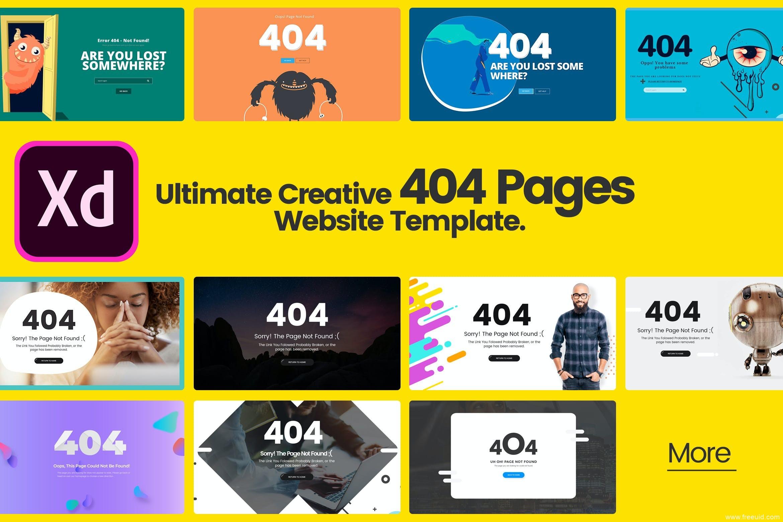 各种优秀创意404页面设计源文件,404页面网页设计模板xd源文件下载